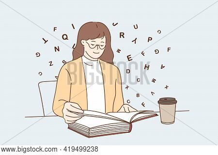 Entertainment Relaxation With Coffee Concept. Young Positive Woman Cartoon Character Sitting Reading