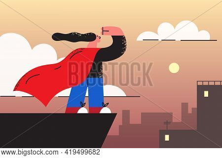 Playing And Happy Childhood Games Concept. Little Girl Cartoon Character Standing Looking At Horizon