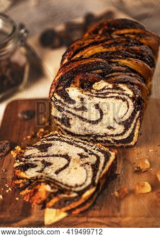 Twisted Babka With Poppy Seeds. Bakery And Confectionery Products