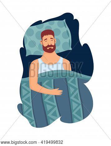 Good Sleep Rules And Man Sleeps On Pillow Vector Illustration. Template Healthy Sleep. Good Night Re
