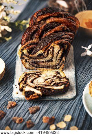 Chocolate Swirl Bread Or Brioche Bread. Homemade Sweet Dessert Pastry