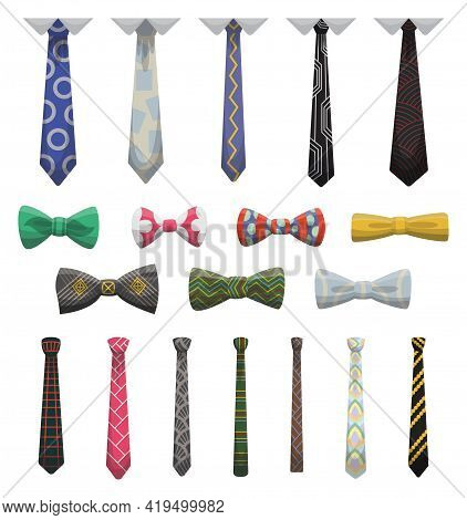 Collection Of Ties And Bow Ties. Men Fashioned Accessories. Clothes Design Element Over Isolated On
