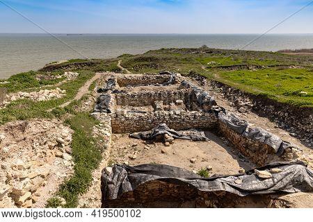 Excavated Ruins Of The Argamum Fortress In Jurilovca, Dolosman Cape, Tulcea County, Dobrogea, Romani