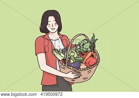Healthy Food And Vegetarian Diet Concept. Young Happy Positive Woman Cartoon Character Standing And