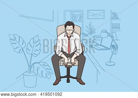 Businessman Working In Office Concept. Young Positive Businessman Cartoon Character Sitting On Chair