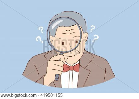 Funny Senior People Portraits Concept. Old Stylish Grandfather Cartoon Character Acting A Investigat