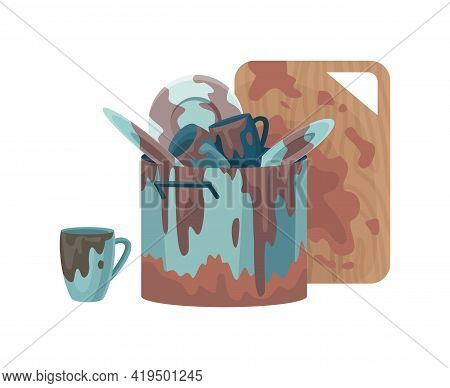 Dirty Dishes Plates And Cups Saucepan With Remains Fat Stains. Cutting Board Spoons And Sauce Puddle