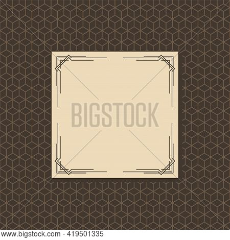 Art Deco Frame. Artwork Graphic With Seamless Pattern. Creative Template Of Wedding Invintation Back