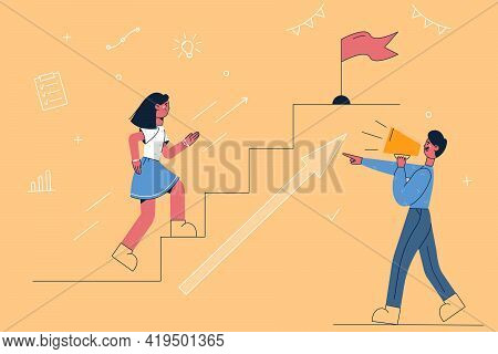 Competition, Promotion, Announcement Concept. Young Man Making Announcement On Speaker Pointing At W