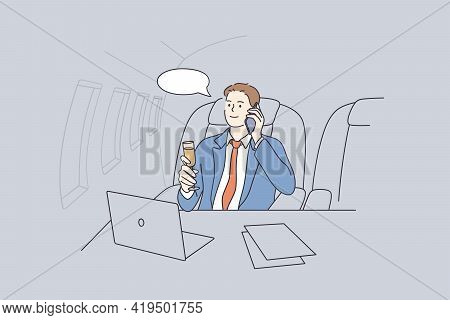Private Plane And Luxury Business Life Concept. Young Smiling Businessman From Sitting Lying On His