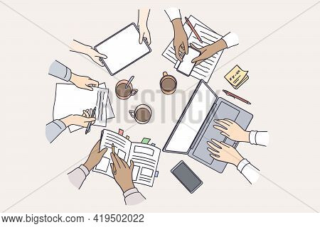 Brainstorming, Teamwork, Technology Concept. Top View Of Table With Different Electronic Devices And