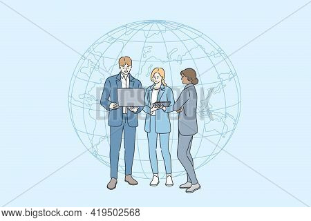 Business Internet Connection Concept. Group Of Young Smiling Business People Standing With Laptop Ov