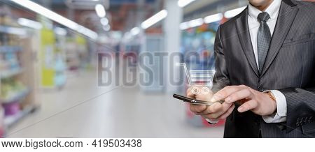 The Concept Of Making Purchases Using Mobile Devices.
