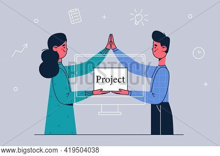 Business Partners, Projects, Corporate Workers Concept. Office Workers Young Partners Standing Holdi