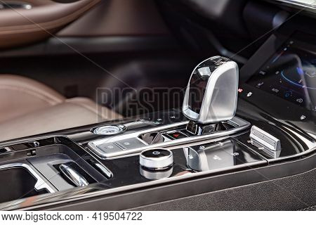 Close-up Of An Automatic Transmission Knob In A New Modern Car. Side View