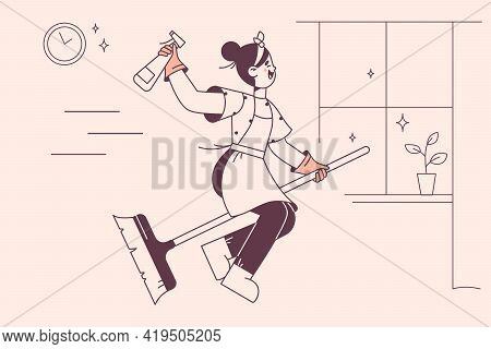Happy Housewife On Broom Concept. Young Smiling Woman Cartoon Character In Working Clothes Sitting O