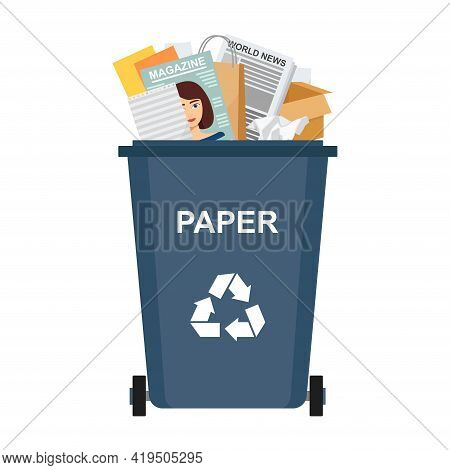 Garbage Bin With Paper Waste, Recycling Garbage, Vector Illustration