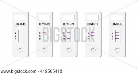 Rapid Covid Antigen Tests Result Set Vector Illustration.