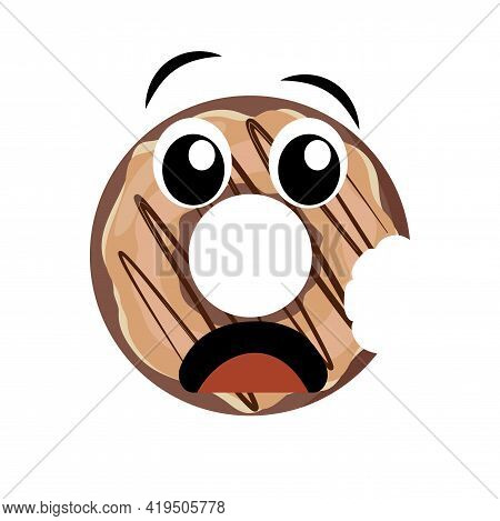 Nibbled Donut Character Isolated On White Background. Scared Doughnut With Eyes And Opened Mouth. Ve