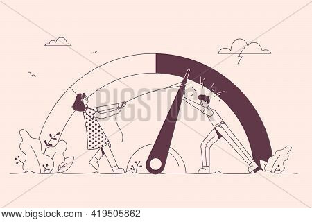 Emotional Stress, Teamwork, Burnout Concept. Man And Woman Cartoon Characters Trying To Push Stress