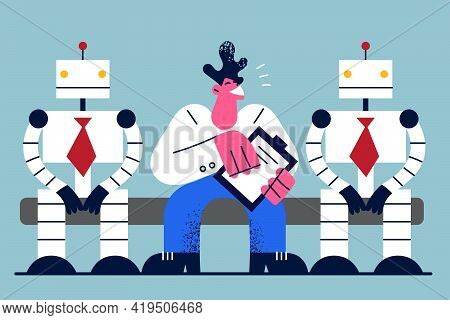 Human Versus Robots And Technology Concept. Man Business Candidate Sitting And Competing With Artifi