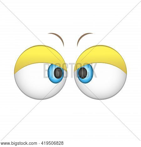 Cute, Cartoon Eyes. Looking, Expressive And Amazing Eyes. Attentive, Strict And Cheerful Eyes. The H