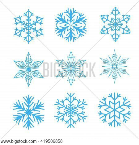 Vector Snowflakes. Vector Snowflakes Icon. Snowflakes Logo. Flat Winter Snowflakes. Christmas Snowfl