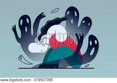 Mental Problems, Depression, Grief Concept. Despaired Woman Floor Having Fears And Scary Fantasies F