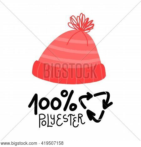 Knitted Striped Pom-pom Hat, 100 Percent Recycled Polyester Lettering. Sustainable Fashion Concept.