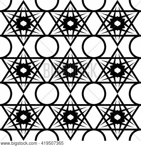 Abstract Seamless Pattern In Black With The Image Of An Ornament In The Form Of A Lattice Of Geometr