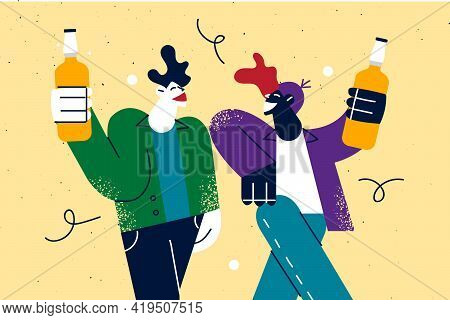 Having Fun, Male Company Concept. Excited Young Men In Casual Clothes Holding Beer Drink And Having