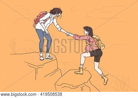 Hiking On Nature And Assistance Concept. Young Woman Hiker Cartoon Character Giving Helping Hand To
