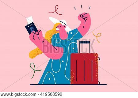 Traveling, Vacations, Journey Concept. Young Happy Woman Tourist With Suitcase Holding Passport With