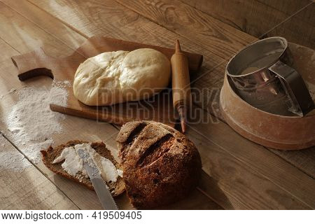 A Slice Of Bread. White Bread. Bread Wood. Bread On The Table. Bread For The Background. Bread For B