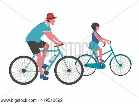 Dad, Daughter Ride Bicycle Flat Color Vector. Father, Baby Kid Cute Cartoon Design Element. Family A