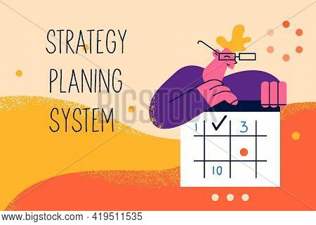 Strategy Planning System, Management, Business Concept. Young Man Worker Cartoon Character Holding C