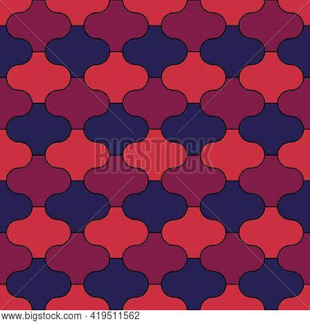 Seamless Pattern. Paseo Tiles Ornament. Oriental Traditional Ornamentation. Repeated Lantern Shapes.