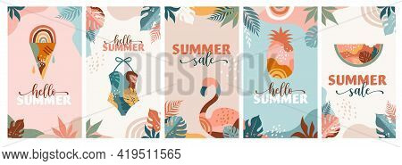 Bohemian Summer, Set Of Modern Summer Sale Story Template Designs With Rainbow, Flamingo, Pineapple,