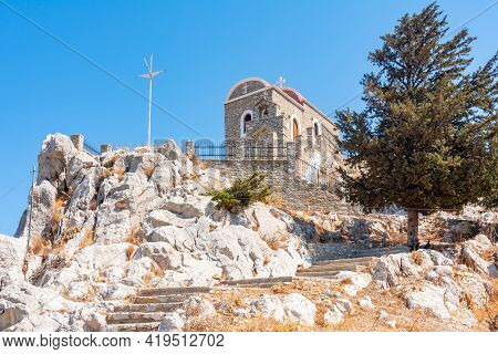 Small Chapel Over Symi Town In Greece