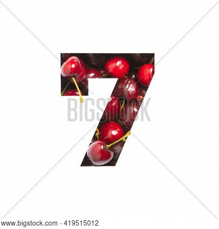 Number Seven Made Of Cherries And Paper Cut In Shape Of Seventh Numeral Isolated On White. Typeface