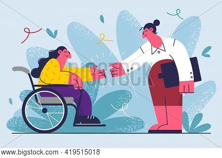 Job Offer For Disabled People Concept. Woman With Disabilities Sitting In Wheelchair Shaking Hands W