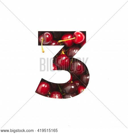 Number Three Of Cherries And Paper Cut In Shape Of Third Numeral Isolated On White. Natural Typeface