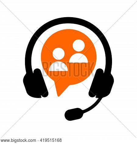 Customer Support Online Service Icon. Call Center Sign With Headset Isolated On White Background. Cl