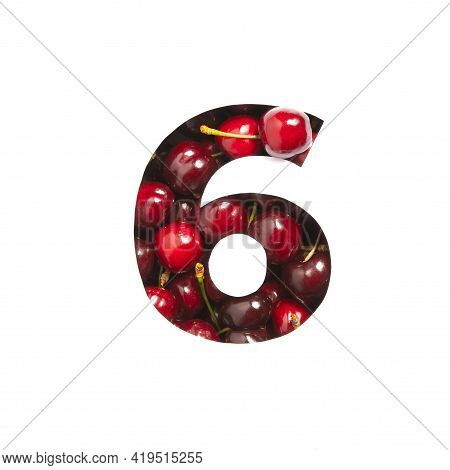 Number Six Made Of Cherries And Paper Cut In Shape Of Sixth Numeral Isolated On White. Typeface Of B