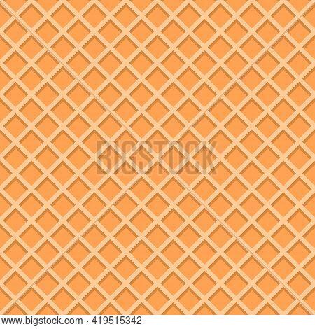 Ice Cream Waffle Cone Texture. Vanilla Wafer Background Seamless Pattern. Vector Flat Cartoon Illust