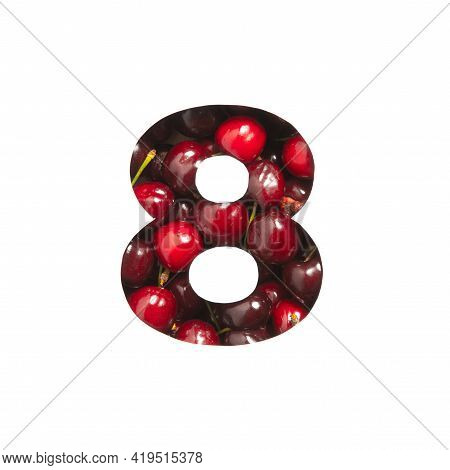Number Eight Made Of Cherries And Paper Cut In Shape Of Eighth Numeral Isolated On White. Typeface O