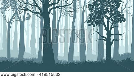 Foggy Forest. Silhouettes Of Trees In The Misty Forest. Dark Blue Landscape. Vector