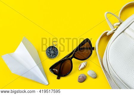 Set Of Stylish Accessories For Your Summer Vacation. Summertime Travel. Passport, Sun Glasses, Backp
