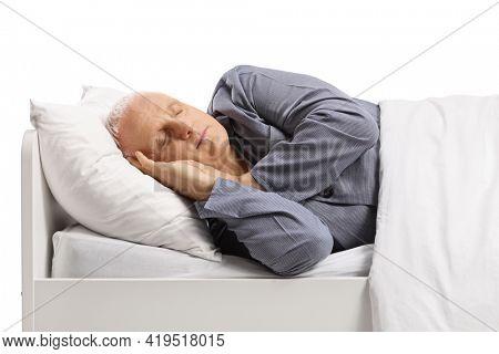 Mature man in pajamas sleeping under duvet isolated on white background
