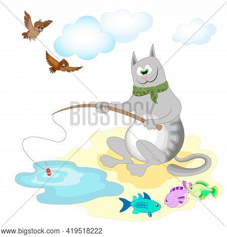 Gray Cat Fisherman Fishing With A Fish-rod On The Shore Of The Pond